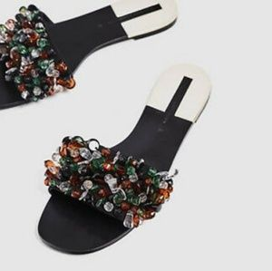 Zara black multicolored beaded flats sandals 8 NWT